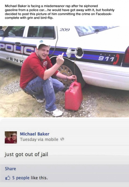 Idiot Steals Gas from Cop Car, then posts about it on Facebook.