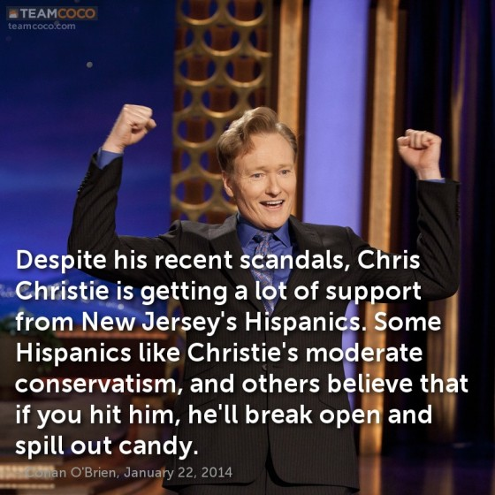 Conan O'Brien jokes about Chris Christie's support among Hispanics