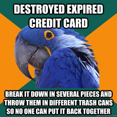 Funny Pictures of Paranoid Parrot - Expired Credit Card
