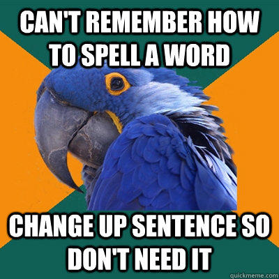 Funny Pictures of Paranoid Parrot -  Remember How To Spell