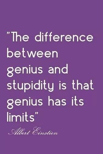 Albert Einstein Quote about the difference between genius and stupidity