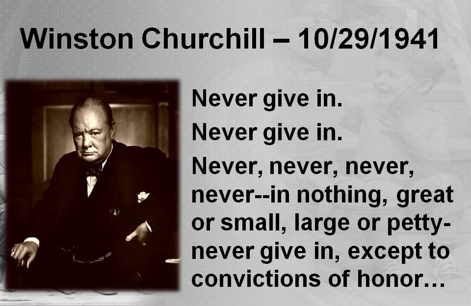 Winston Churchill Quotes - Never Give Up