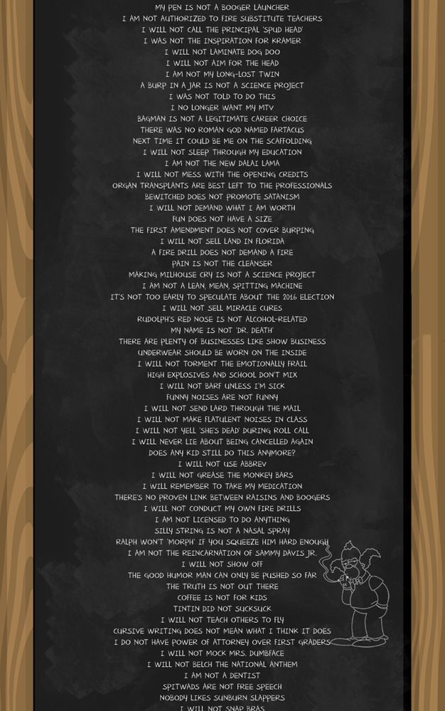Bart Simpson Chalkboard Quotes
