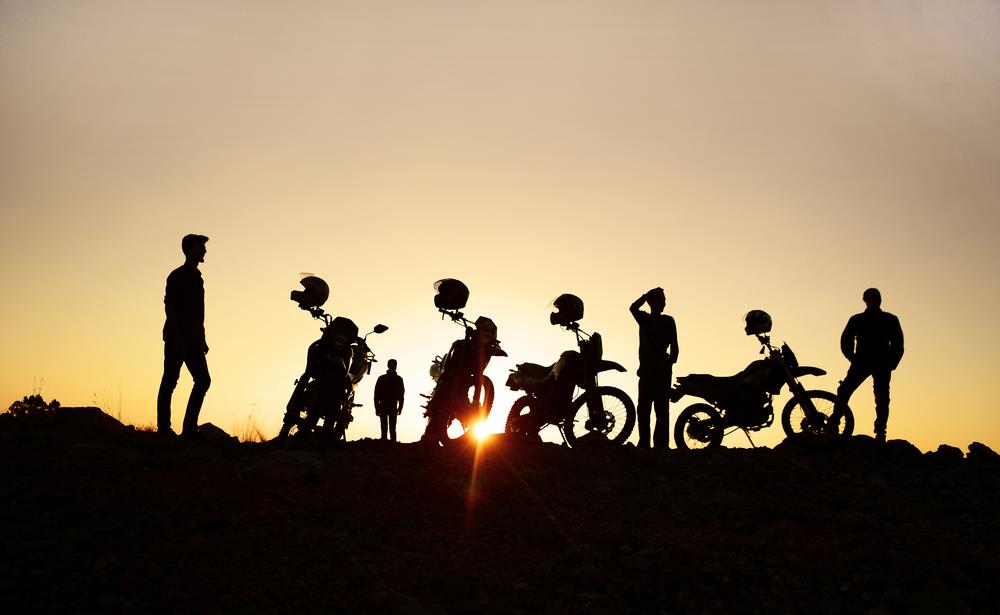 Sunset With Motorcycle Fans